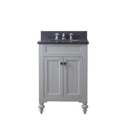 Potenza 24 in. W x 33 in. H Vanity in Earl Grey with Granite Vanity Top in Blue Limestone with White Basin