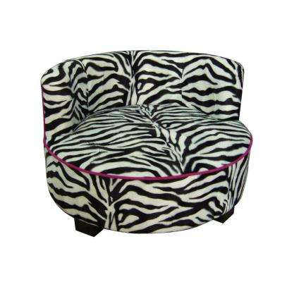 15.5 in. H Round Pet Zebra Upholstered Print Furniture