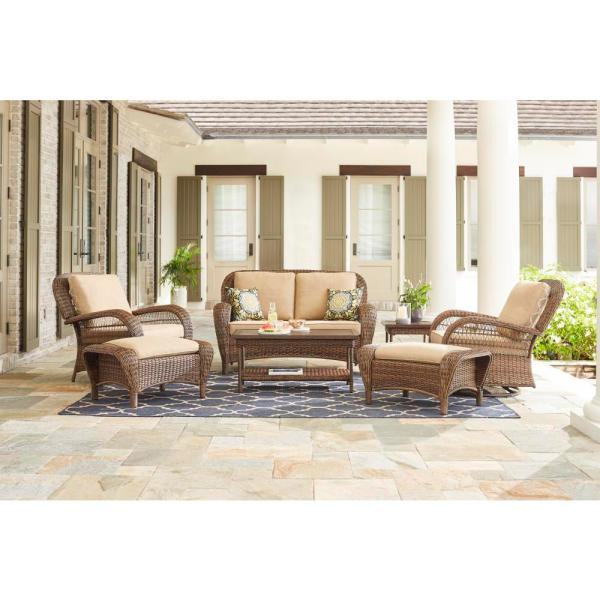 Beacon Park Brown 7-Piece Wicker Outdoor Deep Seating Set with Toffee Cushions