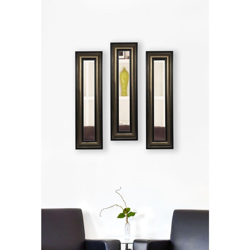 13 in. x 25 in. Stepped Antiqued Vanity Mirror (Set of 3-Panels)