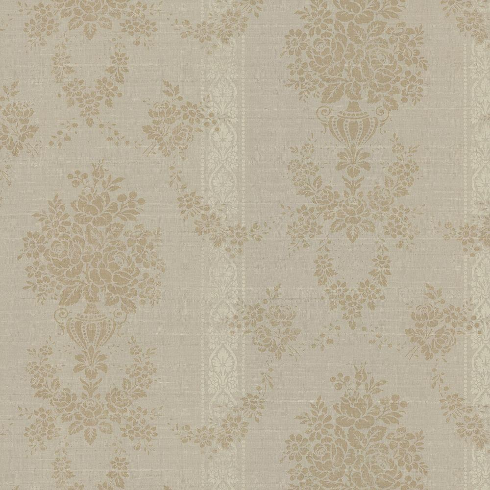 Brewster 56 sq. ft. Floral Urn Stripe Wallpaper
