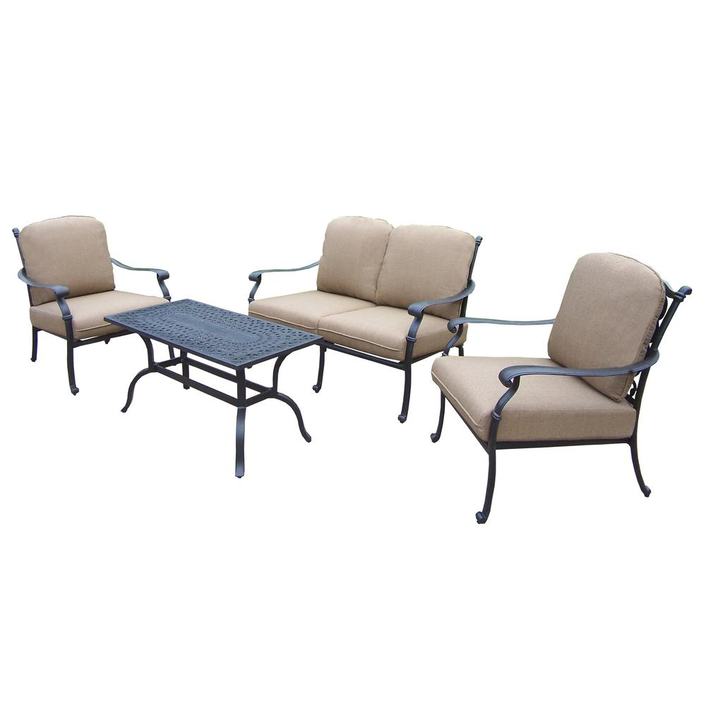 Cast Aluminum 4-Piece Patio Deep Seating Set with SpunPoly Beige Cushions