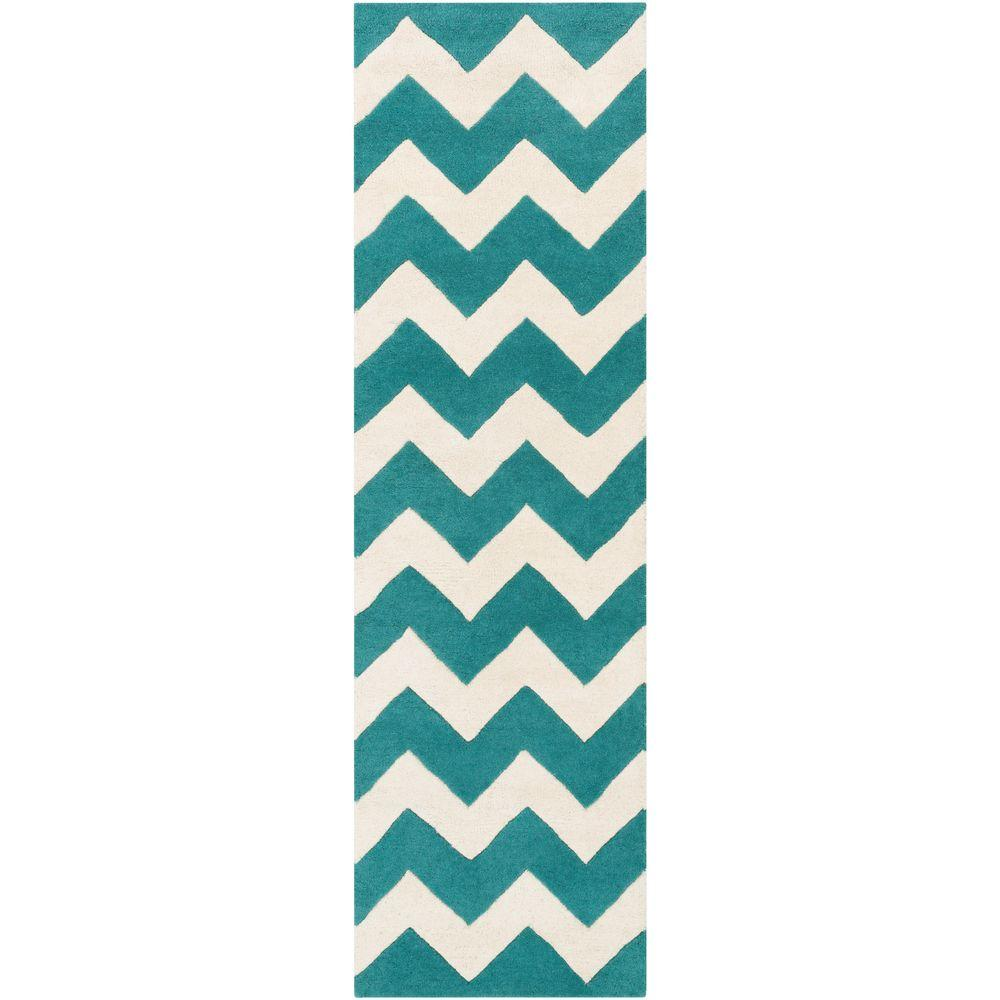 Artistic Weavers Transit Penelope Teal 2 ft. x 14 ft. Indoor Runner Rug
