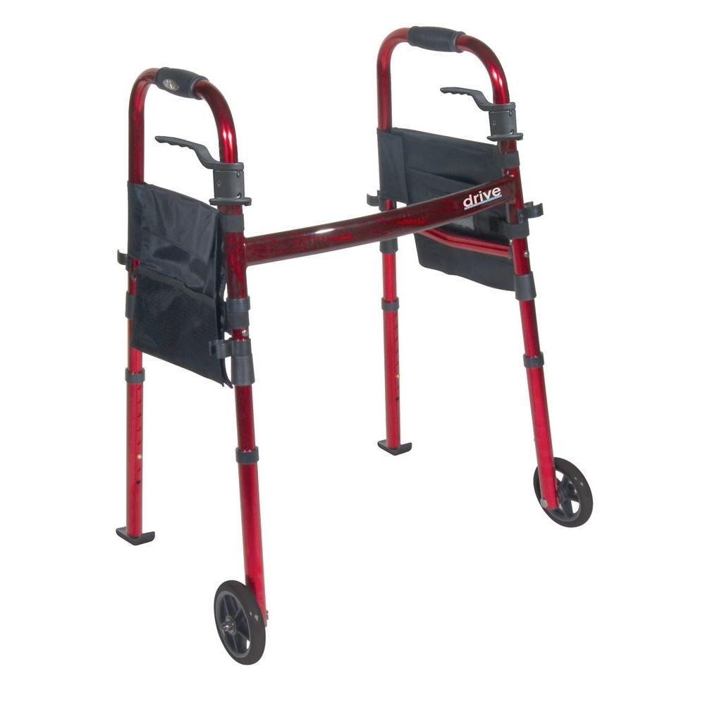 Drive Portable Folding Travel Walker with 5 in. Wheels an...