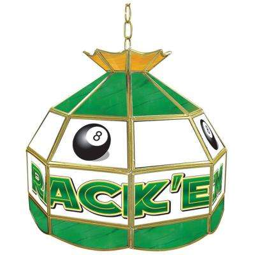 Rack'em 8 Ball 16 in. Brass Hanging Tiffany Style Billiard Lamp