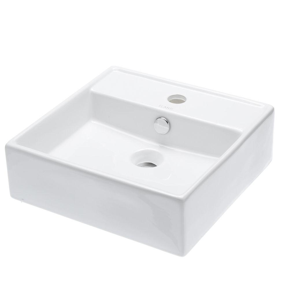 Elanti Wall-Mounted Square Bathroom Sink in White