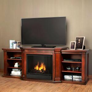 media console ventless gel fuel fireplace in dark mahogany - Gel Fuel Fireplace