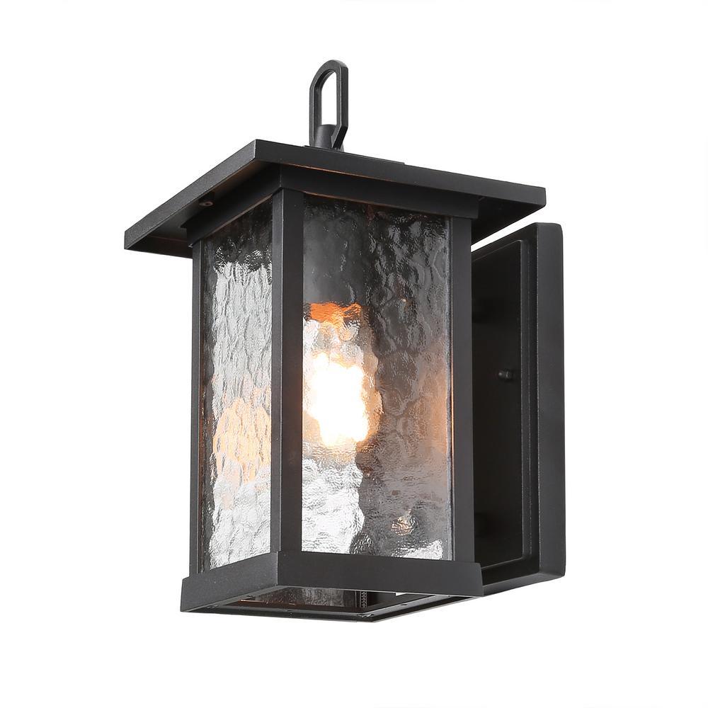Elar 1-Light Black Outdoor Wall Lantern Sconce