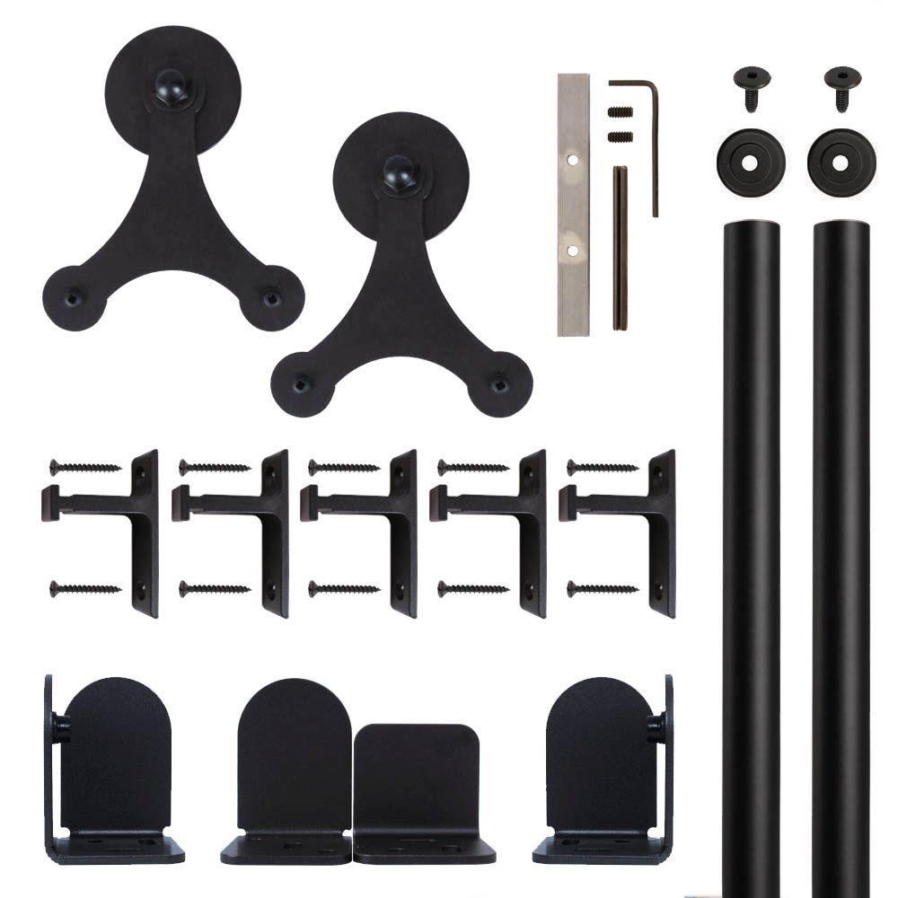 Tri-Star Black Rolling Door Hardware Kit for 1-1/2 in. to 2-1/4 in. Door