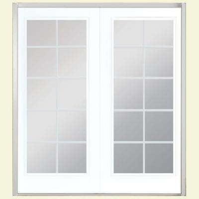 60 in. x 80 in. Ultra White Prehung Right-Hand Inswing 10 Lite Steel Patio Door with No Brickmold