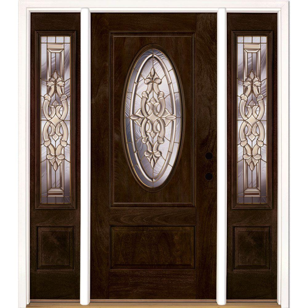 63.5 in.x81.625in.Silverdale Brass 3/4 Oval Lt Stained Chestnut Mahogany Lt-Hd