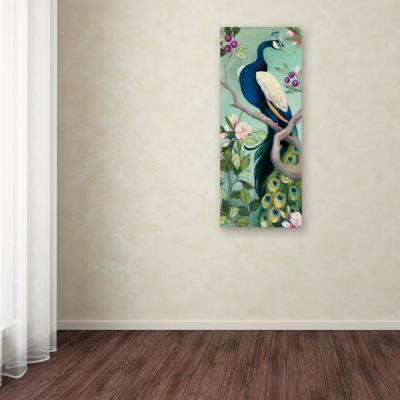 """47 in. x 20 in. """"Pretty Peacock I"""" by Julia Purinton Printed Canvas Wall Art"""