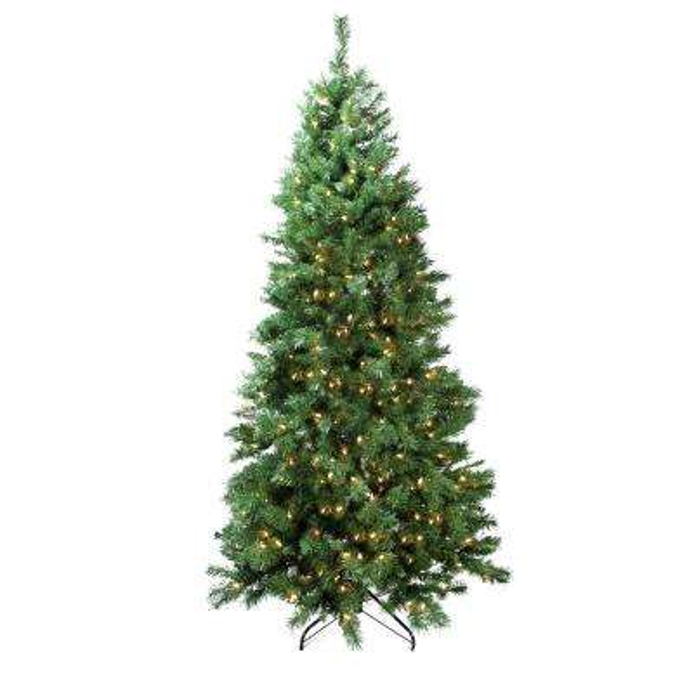 7 ft. Pre-Lit Single Plug Slim Glacier Pine Artificial Christmas Tree Multi-Function LED Lights