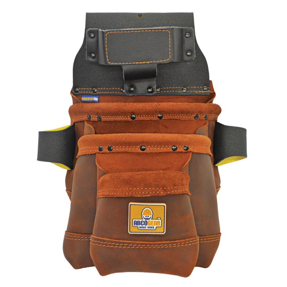 13 in. 3-Pocket Elite Series Leather Tool Bag in Brown
