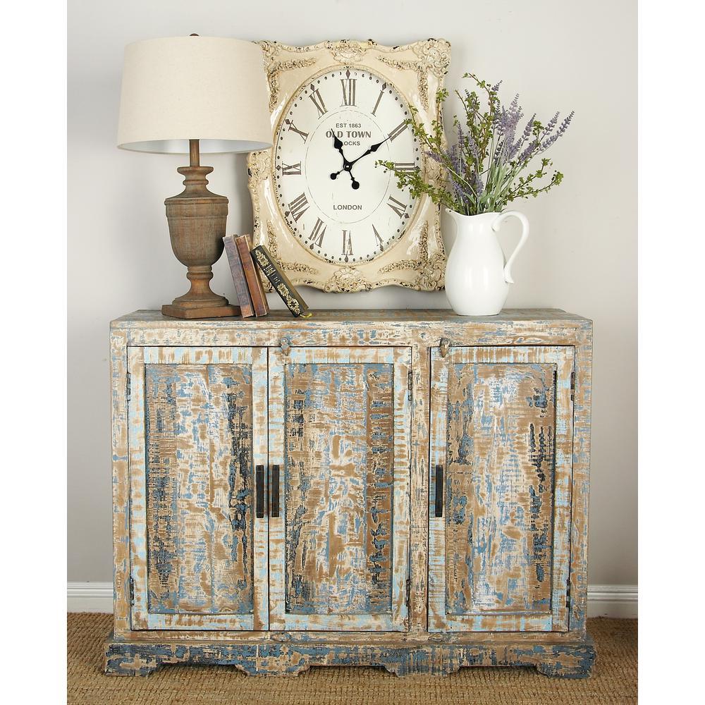 47 in. W x 36 in. H Multi-Colored 3-Door Mango Wood Cabinet