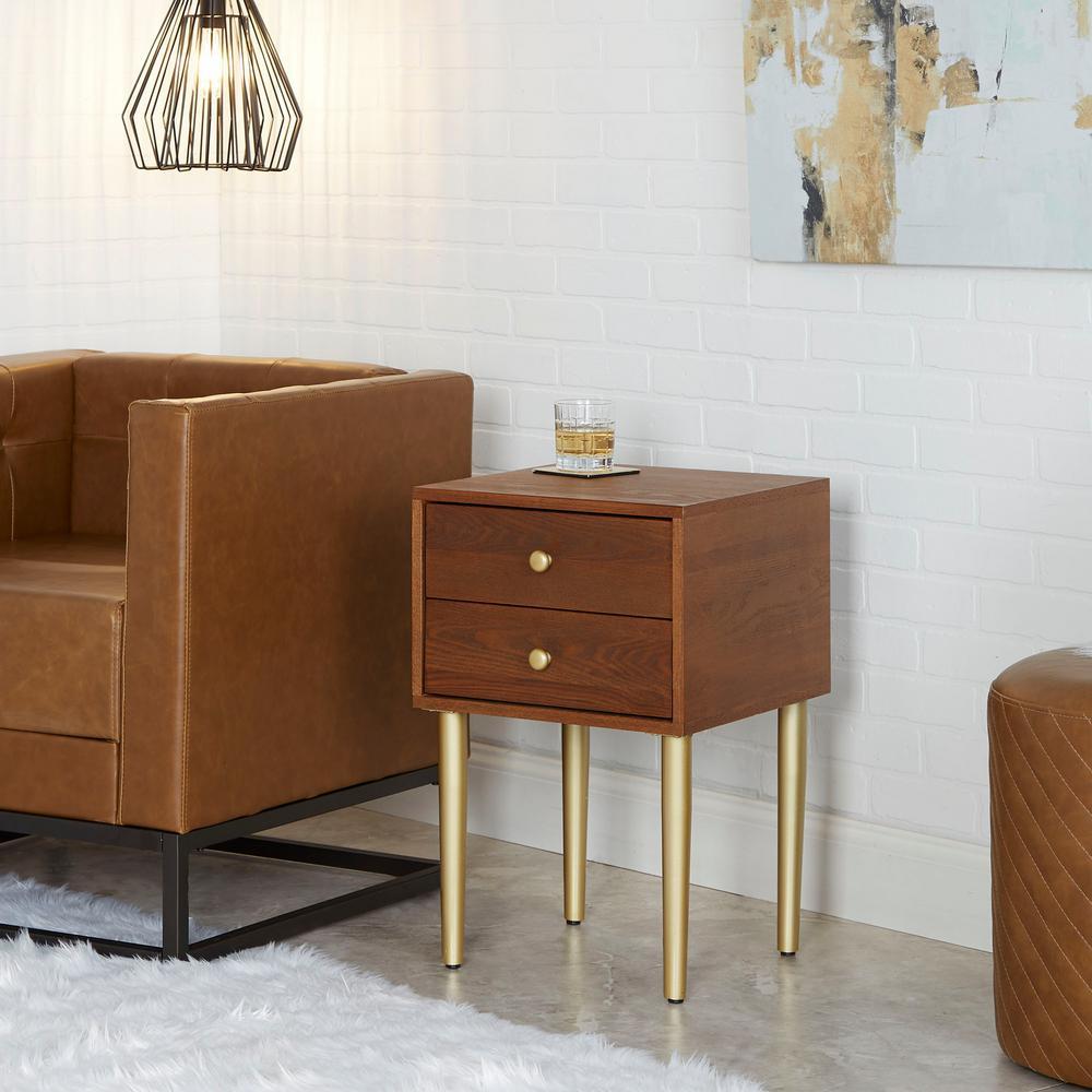 Hepburn Mid-Century Modern Mixed Material Walnut Side Table