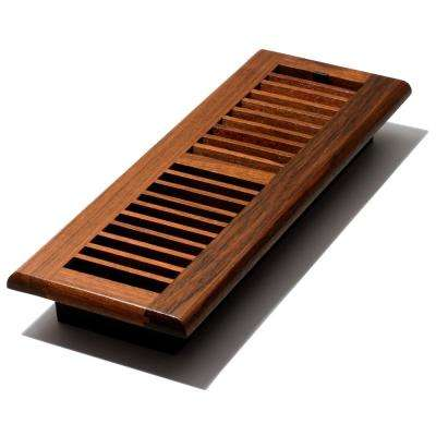 4 in. x 14 in. Solid Brazilian Cherry Wood Floor Register with Damper Box