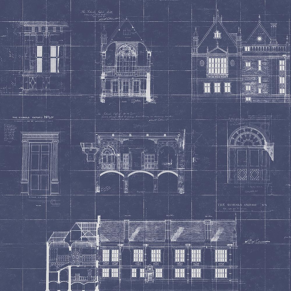 Estcourt Navy Blueprint Wallpaper