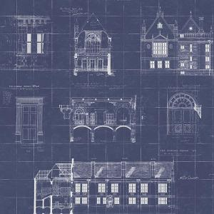 Estcourt Navy Blueprint Wallpaper Sample