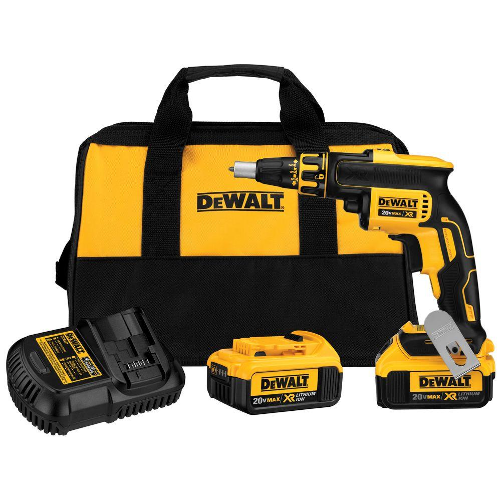 DEWALT 20-Volt MAX XR Lithium-Ion Cordless Brushless Drywall Screw Gun with (2) Batteries 4Ah, Charger and Contractor Bag