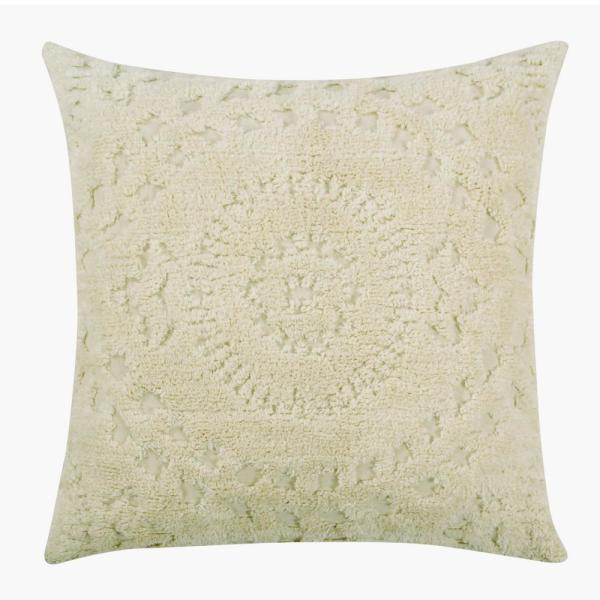 Rio Collection in Floral Design Ivory Euro 100% Cotton Tufted Chenille Sham