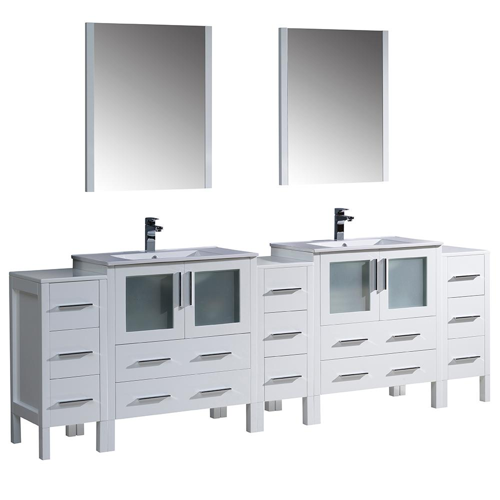 Fresca Torino 96 in. Double Vanity in White with Ceramic Vanity Top in White with White Basins and Mirrors