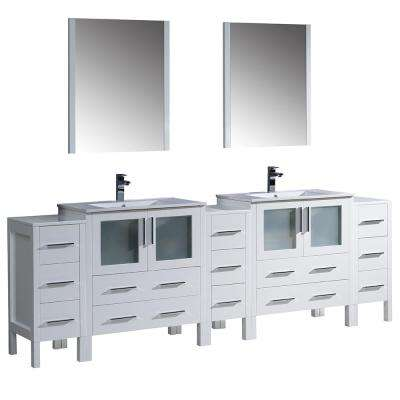 Torino 96 in. Double Vanity in White with Ceramic Vanity Top in White with White Basins and Mirrors