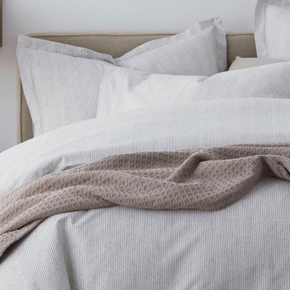 Larkin Stripe Organic 300-Thread Count Cotton Percale Duvet Cover