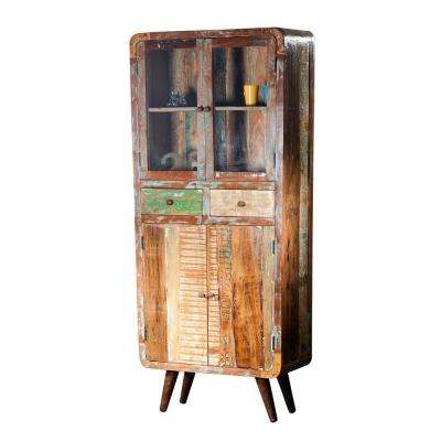 Route 66 Retro Multi-Colored Reclaimed Wood Tall Cabinet