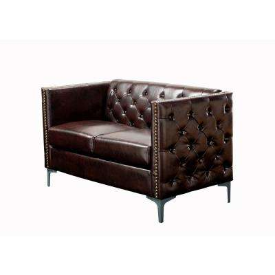 Weber Brown Button Tufted Leather Love seat