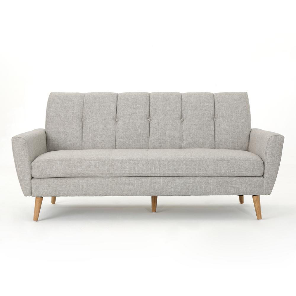 3-Seat Beige Tufted Fabric Sofa
