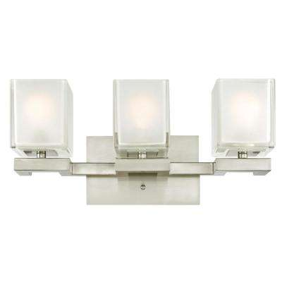 Nyle 3-Light Brushed Nickel Wall Mount Bath Light