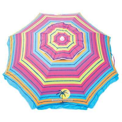 6.5 ft. Steel Pole Market Tilt Beach and Patio Umbrella in Pink/Yellow/Blue Striped