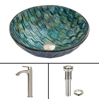 Glass Vessel Sink in Oceania and Linus Faucet Set in Brushed Nickel
