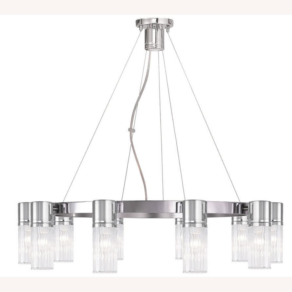 Livex Lighting Midtown 11-Light Chrome Chandelier with Hand Crafted Clear Fluted Glass Shade