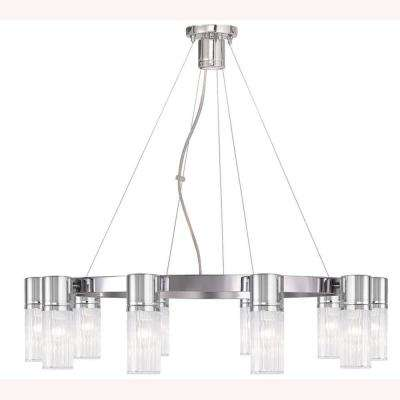Midtown 11-Light Chrome Chandelier with Hand Crafted Clear Fluted Glass Shade