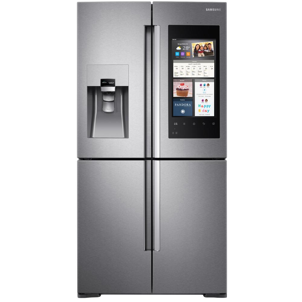 samsung refrigerator french door size. samsung 22 cu. ft. family hub 4-door flex french door smart refrigerator in stainless steel, counter depth-rf22m9581sr - the home depot size