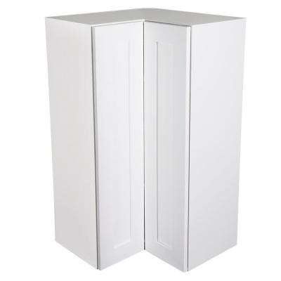 Ready to Assemble 24x42x24 in. Shaker 90 Degree Bi-Fold Door Easy Reach Wall Corner Cabinet in White with Soft-Close