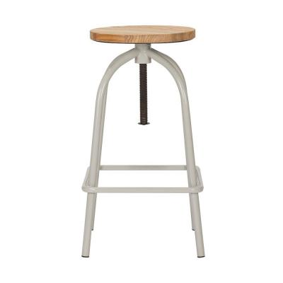 StyleWell Riverbed Brown Metal Adjustable Backless Counter Stool with Swivel (14.17 in. W x 24.41 in. H)