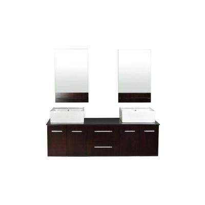 Skyline 61 in. W x 21.5 in. D Vanity in Espresso with Granite Vanity Top in Absolute Black with White Basins and Mirrors