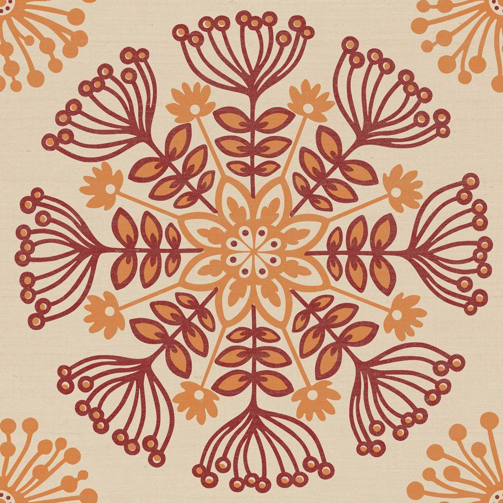 The Wallpaper Company 56 sq. ft. Swedish Floral Red/Ochre Wallpaper