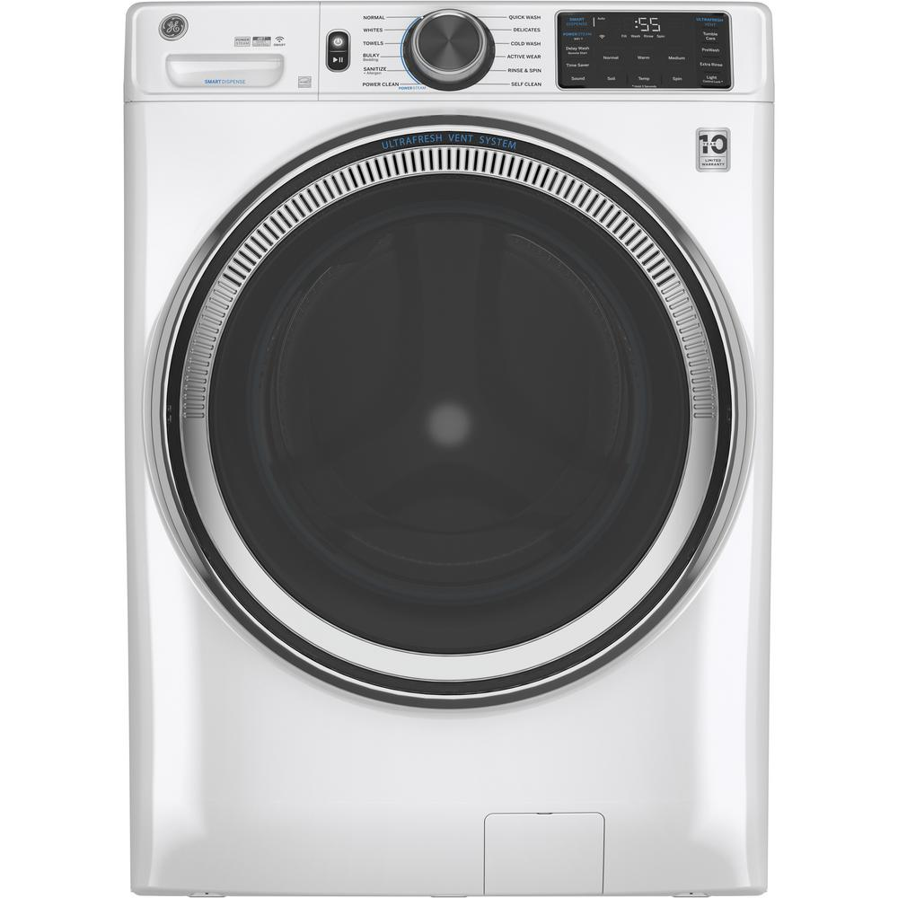 GE 4.8 cu. ft. White Front Load Washing Machine with OdorBlock UltraFresh Vent System with Sanitize and Allergen