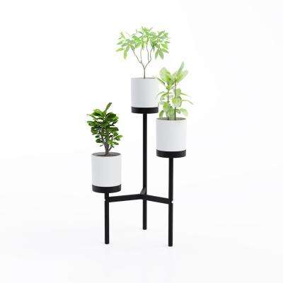 Trio White/Black Floor Plant Stand