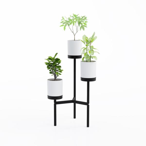cb50a0386e9c Jamesdar Trio White/Black Floor Plant Stand JACC140-WH - The Home Depot