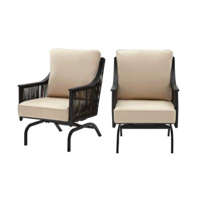Bayhurst Black Wicker Outdoor Patio Rocking Lounge Chair with Sunbrella Beige Tan Cushions (2-Pack)