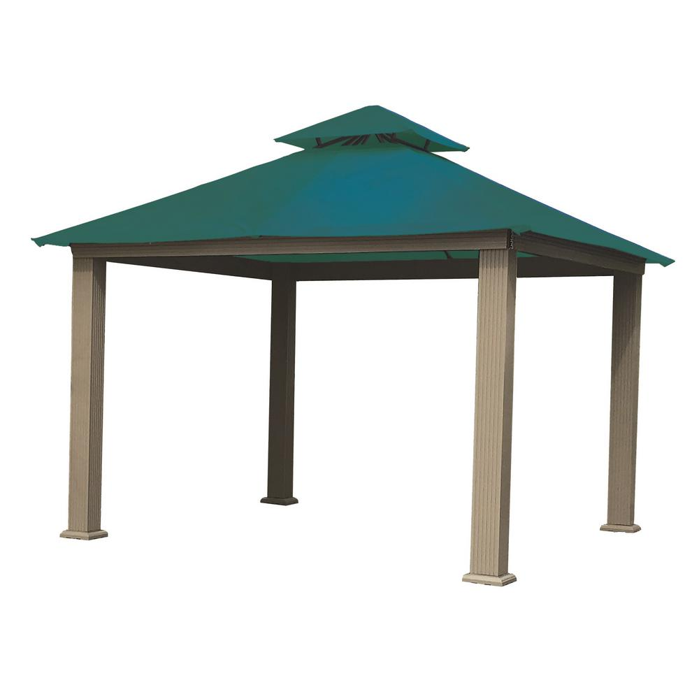 12 ft. x 12 ft. ACACIA Aluminum Gazebo with Teal Canopy