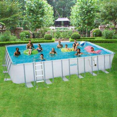 12 ft. x 24 ft. Rectangular 52 in. Deep Metal Frame Swimming Above Ground Pool