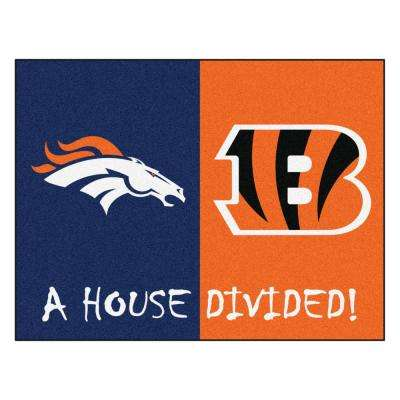 NFL House Divided - Broncos / Bengals 33.75 in. x 42.5 in. House Divided Mat Area Rug