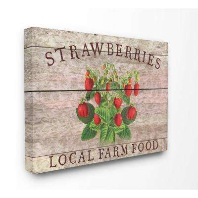 "30 in. x 40 in. ""Strawberries Illustration Local Farm Planked Look"" by Cora Niele Canvas Wall Art"