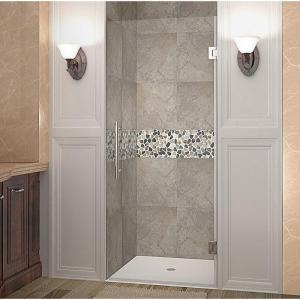Cascadia 25 in. x 72 in. Completely Frameless Hinged Shower Door in Stainless Steel with Clear Glass